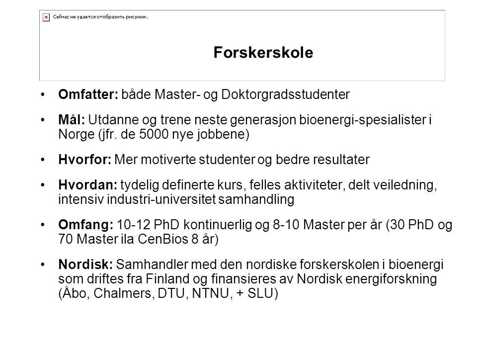 •Omfatter: både Master- og Doktorgradsstudenter •Mål: Utdanne og trene neste generasjon bioenergi-spesialister i Norge (jfr.