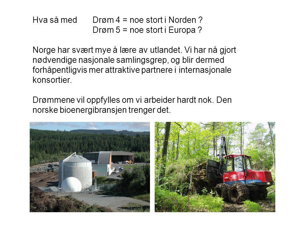 Hva så med Drøm 4 = noe stort i Norden . Drøm 5 = noe stort i Europa .