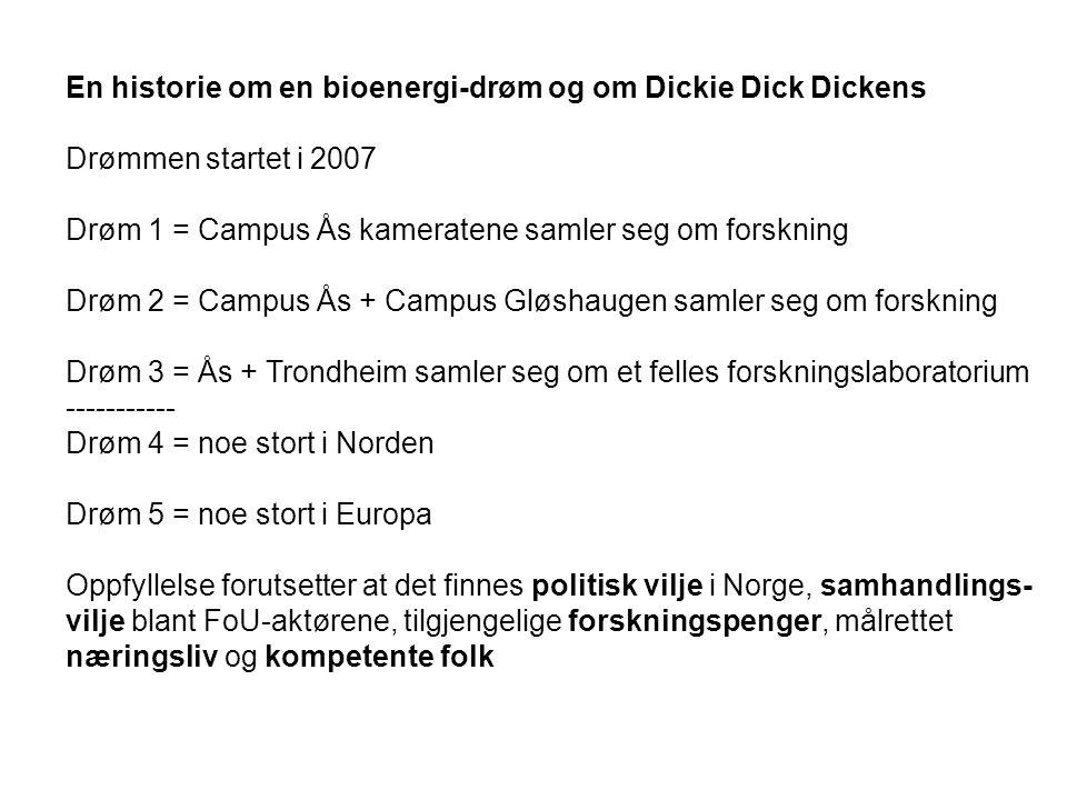 En historie om en bioenergi-drøm og om Dickie Dick Dickens Drømmen startet i 2007 Drøm 1 = Campus Ås kameratene samler seg om forskning Drøm 2 = Campus Ås + Campus Gløshaugen samler seg om forskning Drøm 3 = Ås + Trondheim samler seg om et felles forskningslaboratorium ----------- Drøm 4 = noe stort i Norden Drøm 5 = noe stort i Europa Oppfyllelse forutsetter at det finnes politisk vilje i Norge, samhandlings- vilje blant FoU-aktørene, tilgjengelige forskningspenger, målrettet næringsliv og kompetente folk