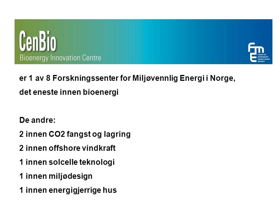 er 1 av 8 Forskningssenter for Miljøvennlig Energi i Norge, det eneste innen bioenergi De andre: 2 innen CO2 fangst og lagring 2 innen offshore vindkraft 1 innen solcelle teknologi 1 innen miljødesign 1 innen energigjerrige hus