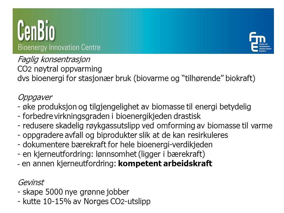 Faglig konsentrasjon CO 2 nøytral oppvarming dvs bioenergi for stasjonær bruk (biovarme og tilhørende biokraft) Oppgaver - øke produksjon og tilgjengelighet av biomasse til energi betydelig - forbedre virkningsgraden i bioenergikjeden drastisk - redusere skadelig røykgassutslipp ved omforming av biomasse til varme - oppgradere avfall og biprodukter slik at de kan resirkuleres - dokumentere bærekraft for hele bioenergi-verdikjeden - en kjerneutfordring: lønnsomhet (ligger i bærekraft) - en annen kjerneutfordring: kompetent arbeidskraft Gevinst - skape 5000 nye grønne jobber - kutte 10-15% av Norges CO 2 -utslipp