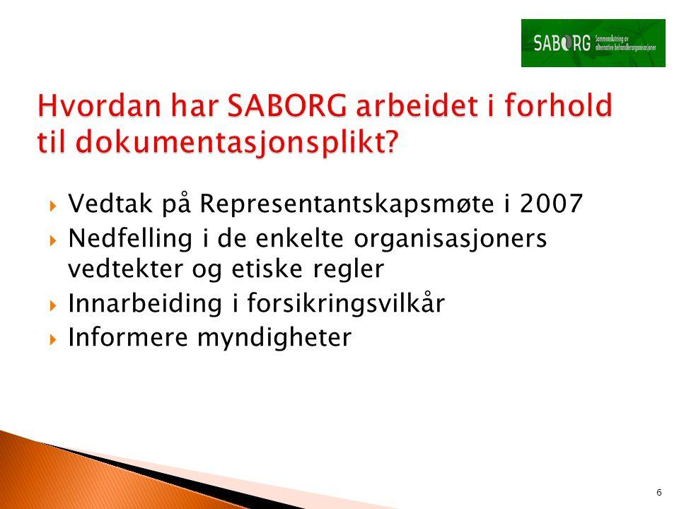 Vedtak på Representantskapsmøte i 2007  Nedfelling i de enkelte organisasjoners vedtekter og etiske regler  Innarbeiding i forsikringsvilkår  Inf