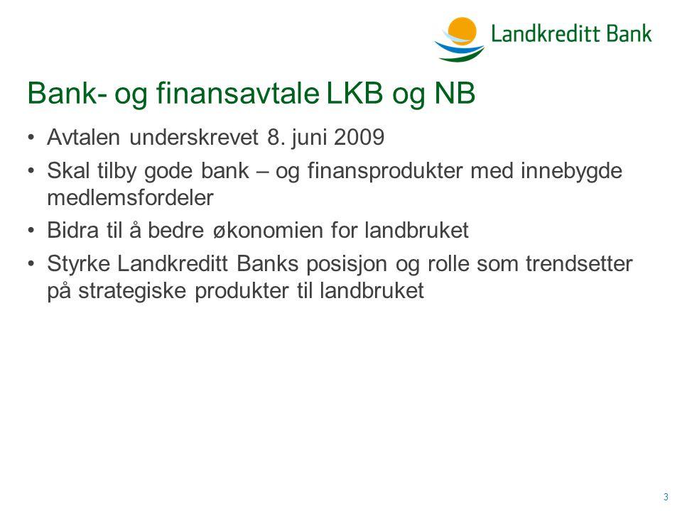 Bank- og finansavtale LKB og NB •Avtalen underskrevet 8.