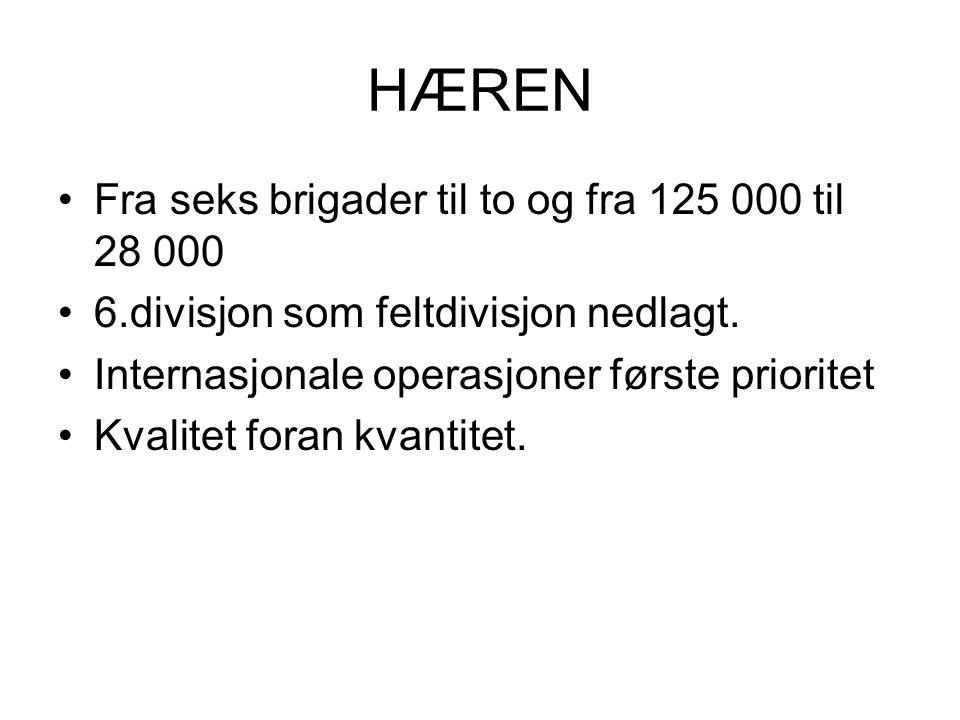 HÆREN •Fra seks brigader til to og fra 125 000 til 28 000 •6.divisjon som feltdivisjon nedlagt.
