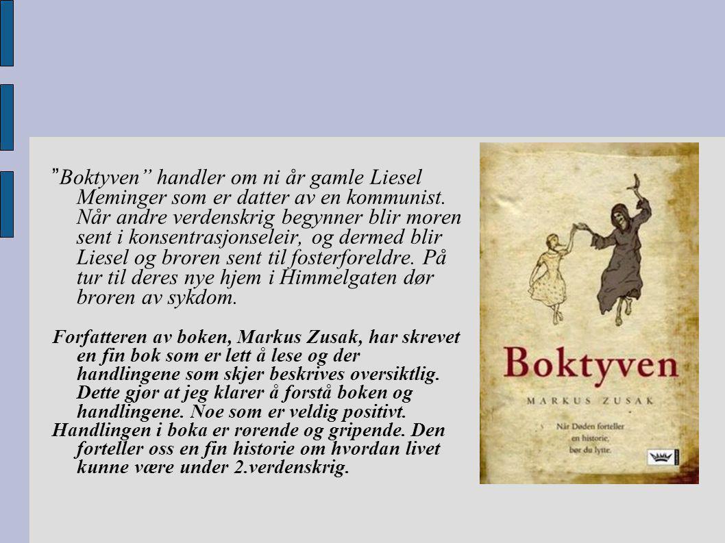 """"""" Boktyven"""" handler om ni år gamle Liesel Meminger som er datter av en kommunist. Når andre verdenskrig begynner blir moren sent i konsentrasjonseleir"""