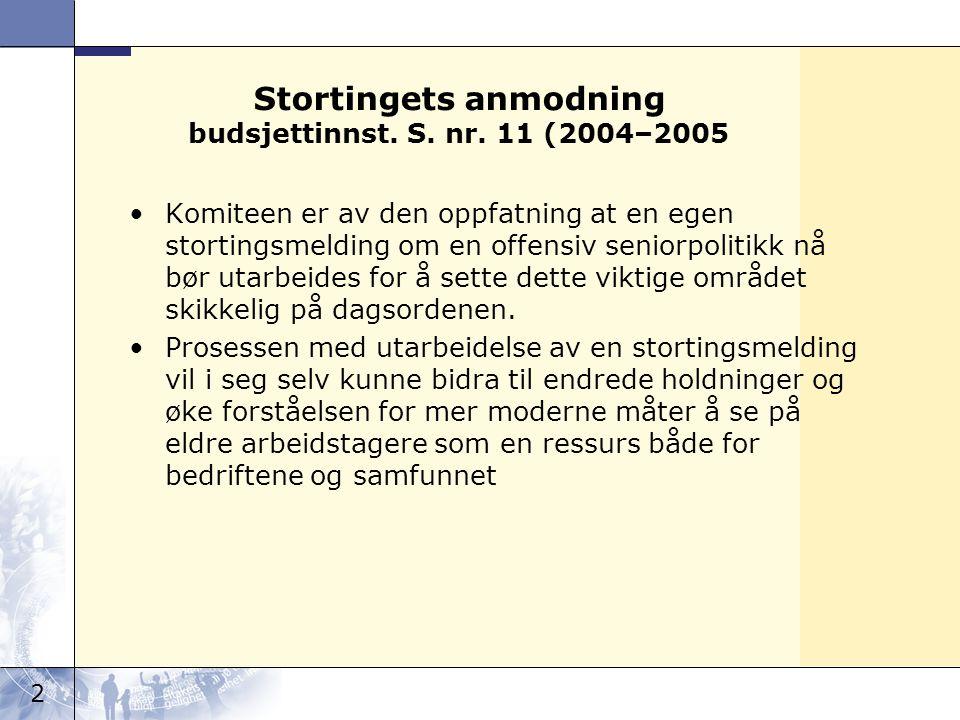 2 Stortingets anmodning budsjettinnst. S. nr. 11 (2004–2005 •Komiteen er av den oppfatning at en egen stortingsmelding om en offensiv seniorpolitikk n