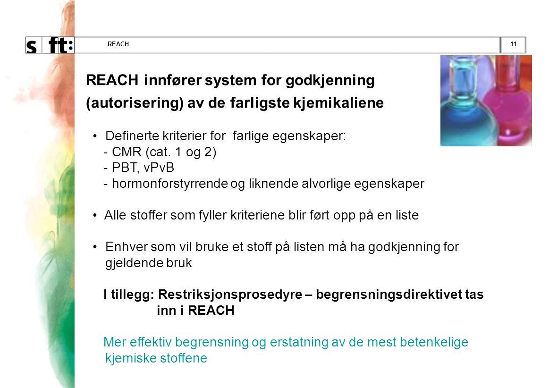 11REACH REACH innfører system for godkjenning (autorisering) av de farligste kjemikaliene • Definerte kriterier for farlige egenskaper: - CMR (cat.