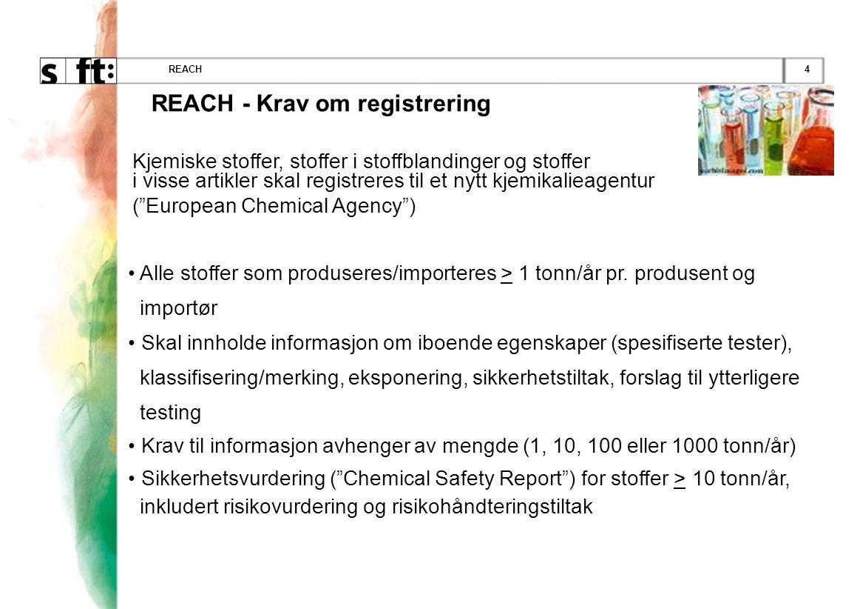 4REACH Kjemiske stoffer, stoffer i stoffblandinger og stoffer i visse artikler skal registreres til et nytt kjemikalieagentur ( European Chemical Agency ) • Alle stoffer som produseres/importeres > 1 tonn/år pr.