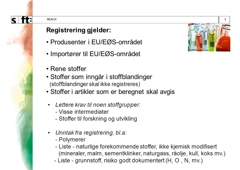 5REACH •Lettere krav til noen stoffgrupper: - Visse intermediater - Stoffer til forskning og utvikling •Unntak fra registrering, bl.a: - Polymerer - Liste - naturlige forekommende stoffer, ikke kjemisk modifisert (mineraler, malm, sementklinker, naturgass, råolje, kull, koks mv.) - Liste - grunnstoff, risiko godt dokumentert (H, O, N, mv.) Registrering gjelder: • Produsenter i EU/EØS-området • Importører til EU/EØS-området • Rene stoffer • Stoffer som inngår i stoffblandinger (s toffblandinger skal ikke registreres) • Stoffer i artikler som er beregnet skal avgis