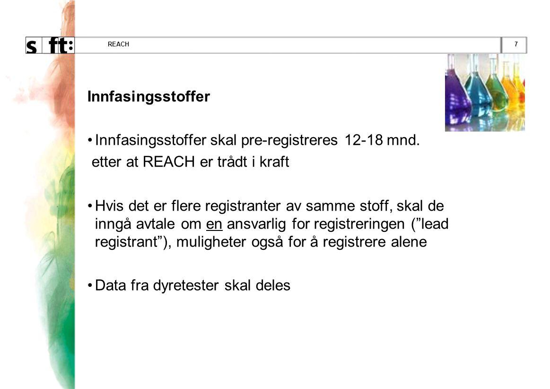 7REACH Innfasingsstoffer •Innfasingsstoffer skal pre-registreres 12-18 mnd.