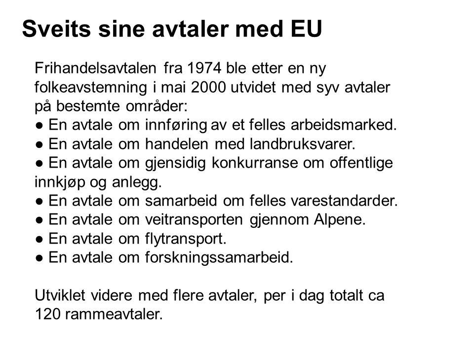 Sveits sine avtaler med EU Frihandelsavtalen fra 1974 ble etter en ny folkeavstemning i mai 2000 utvidet med syv avtaler på bestemte områder: ● En avt