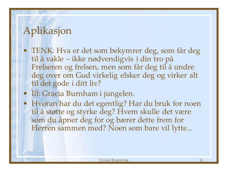 Eivind Rognsvåg16 Aplikasjon •TENK: Hva er det som bekymrer deg, som får deg til å vakle – ikke nødvendigvis i din tro på Frelseren og frelsen, men som får deg til å undre deg over om Gud virkelig elsker deg og virker alt til det gode i ditt liv.