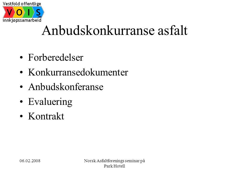 06.02.2008Norsk Asfaltforenings seminar på Park Hotell Anbudskonkurranse asfalt •Forberedelser •Konkurransedokumenter •Anbudskonferanse •Evaluering •Kontrakt