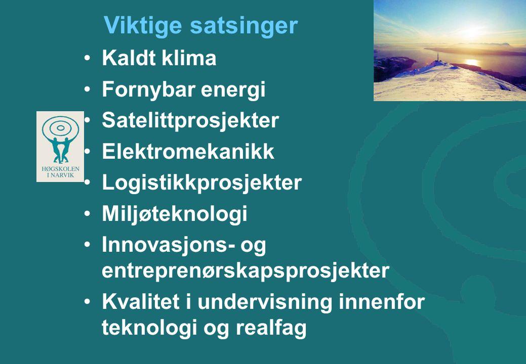 Viktige satsinger •Kaldt klima •Fornybar energi •Satelittprosjekter •Elektromekanikk •Logistikkprosjekter •Miljøteknologi •Innovasjons- og entreprenørskapsprosjekter •Kvalitet i undervisning innenfor teknologi og realfag