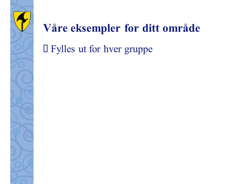 Våre eksempler for ditt område  Fylles ut for hver gruppe