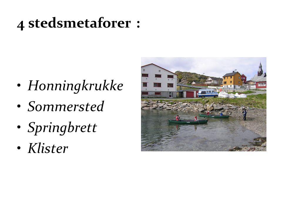 4 stedsmetaforer : •Honningkrukke •Sommersted •Springbrett •Klister