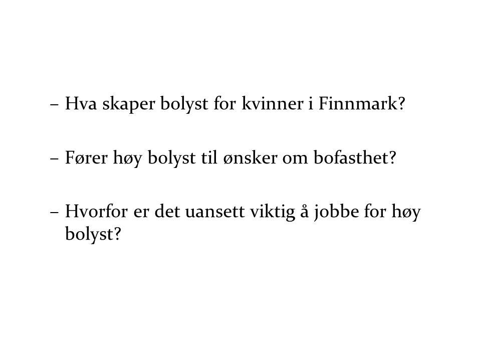 –Hva skaper bolyst for kvinner i Finnmark? –Fører høy bolyst til ønsker om bofasthet? –Hvorfor er det uansett viktig å jobbe for høy bolyst?