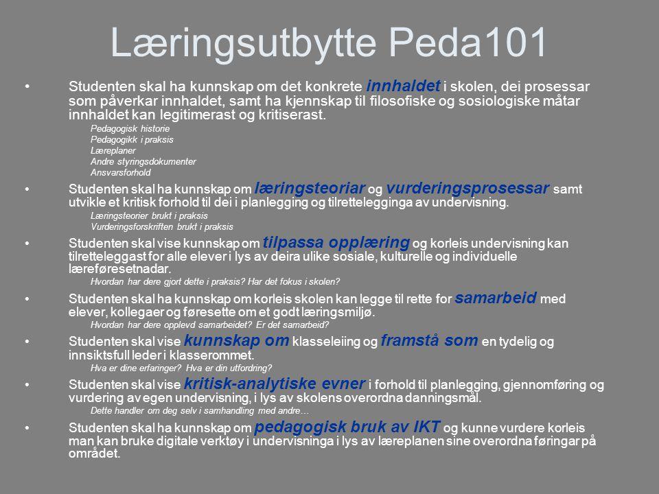 Læringsutbytte Peda101 •Studenten skal ha kunnskap om det konkrete innhaldet i skolen, dei prosessar som påverkar innhaldet, samt ha kjennskap til filosofiske og sosiologiske måtar innhaldet kan legitimerast og kritiserast.