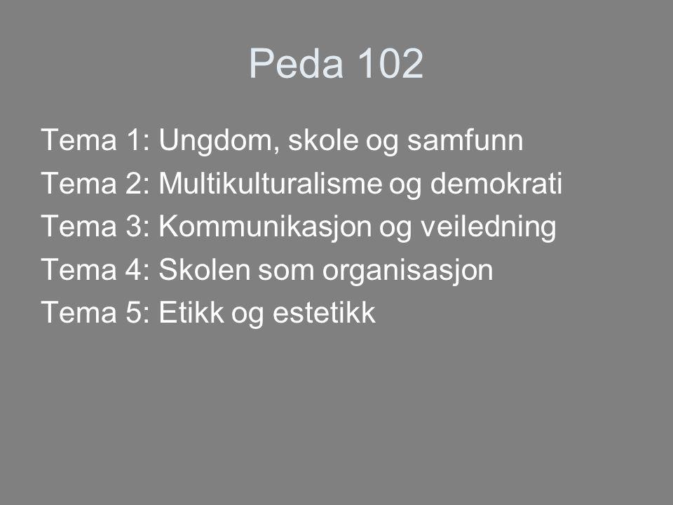 Peda 102 Tema 1: Ungdom, skole og samfunn Tema 2: Multikulturalisme og demokrati Tema 3: Kommunikasjon og veiledning Tema 4: Skolen som organisasjon Tema 5: Etikk og estetikk