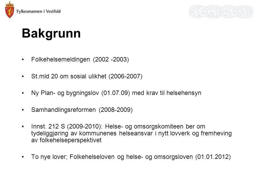 Bakgrunn •Folkehelsemeldingen (2002 -2003) •St.mld 20 om sosial ulikhet (2006-2007) •Ny Plan- og bygningslov (01.07.09) med krav til helsehensyn •Samh