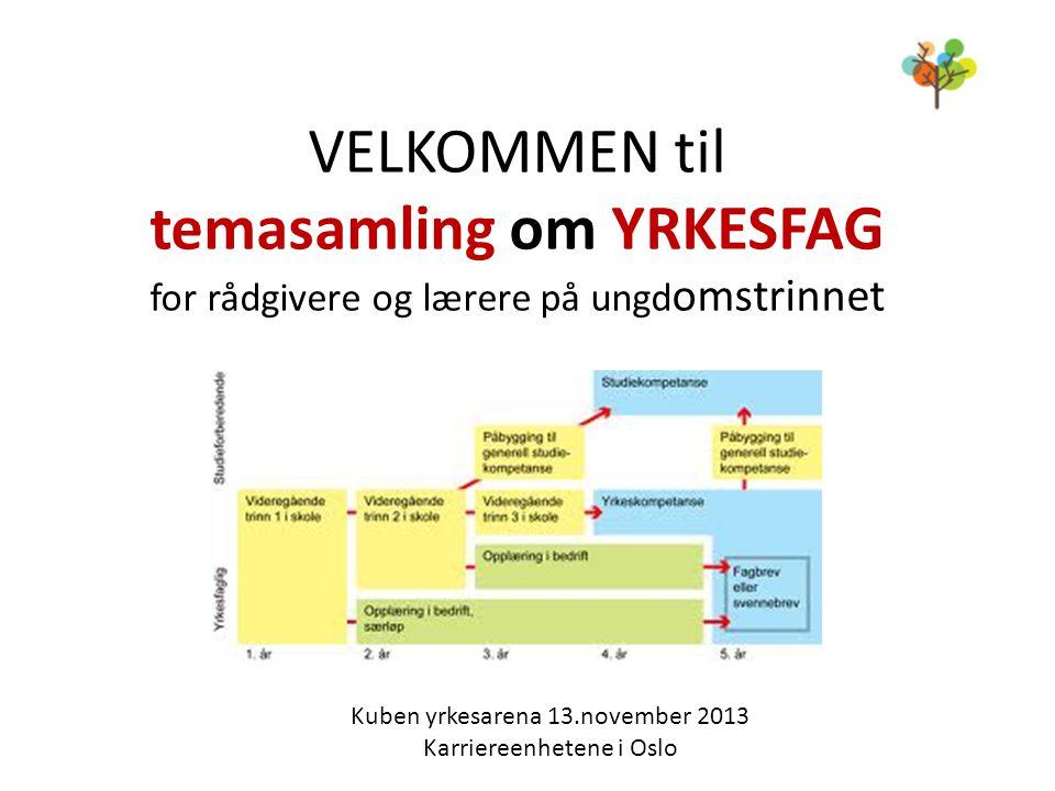 VELKOMMEN til temasamling om YRKESFAG for rådgivere og lærere på ungd omstrinnet Kuben yrkesarena 13.november 2013 Karriereenhetene i Oslo