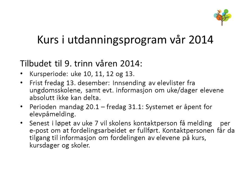 Kurs i utdanningsprogram vår 2014 Tilbudet til 9. trinn våren 2014: • Kursperiode: uke 10, 11, 12 og 13. • Frist fredag 13. desember: Innsending av el