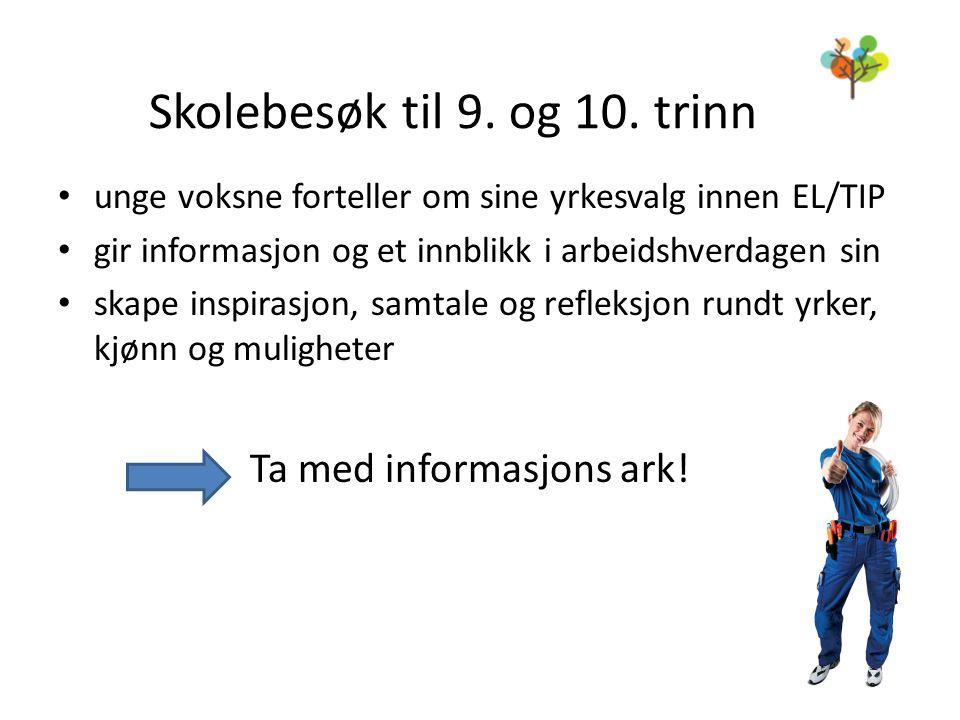 Skolebesøk til 9. og 10. trinn • unge voksne forteller om sine yrkesvalg innen EL/TIP • gir informasjon og et innblikk i arbeidshverdagen sin • skape