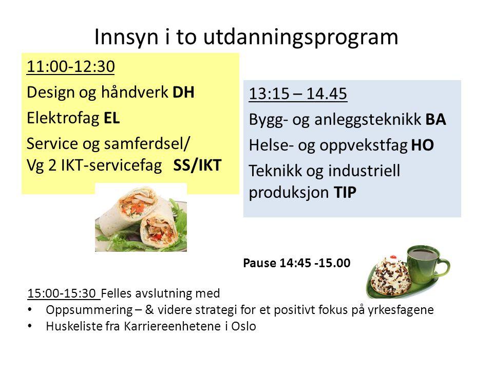 Innsyn i to utdanningsprogram 11:00-12:30 Design og håndverk DH Elektrofag EL Service og samferdsel/ Vg 2 IKT-servicefag SS/IKT 13:15 – 14.45 Bygg- og