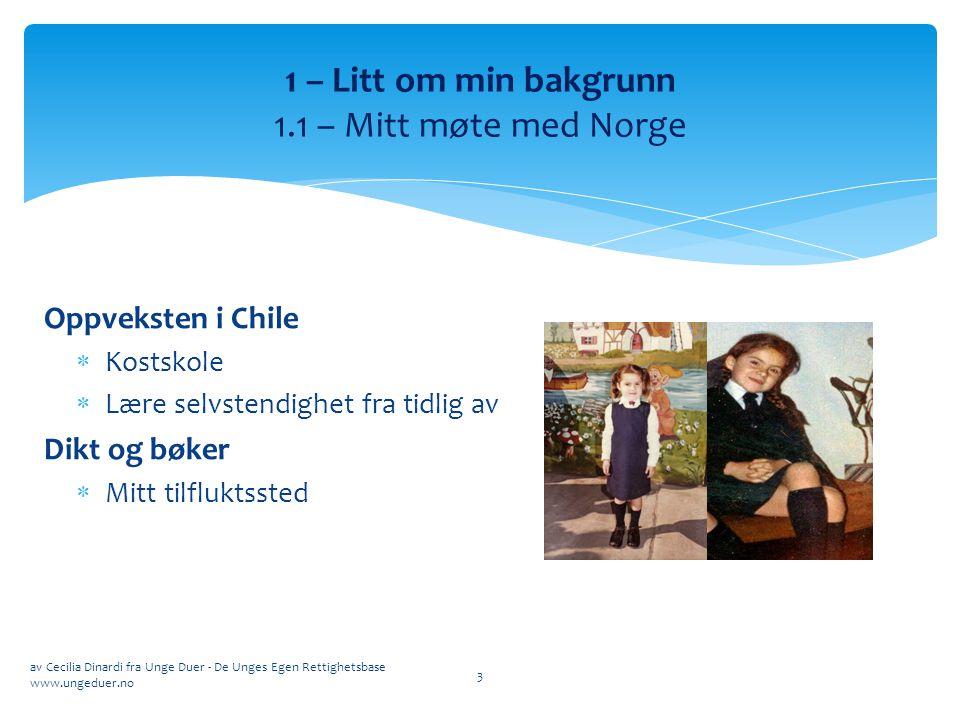 Oppveksten i Chile  Kostskole  Lære selvstendighet fra tidlig av Dikt og bøker  Mitt tilfluktssted av Cecilia Dinardi fra Unge Duer - De Unges Egen