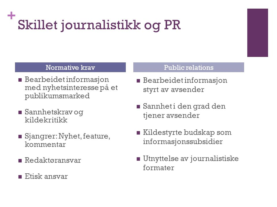 + Skillet journalistikk og PR  Bearbeidet informasjon med nyhetsinteresse på et publikumsmarked  Sannhetskrav og kildekritikk  Sjangrer: Nyhet, fea