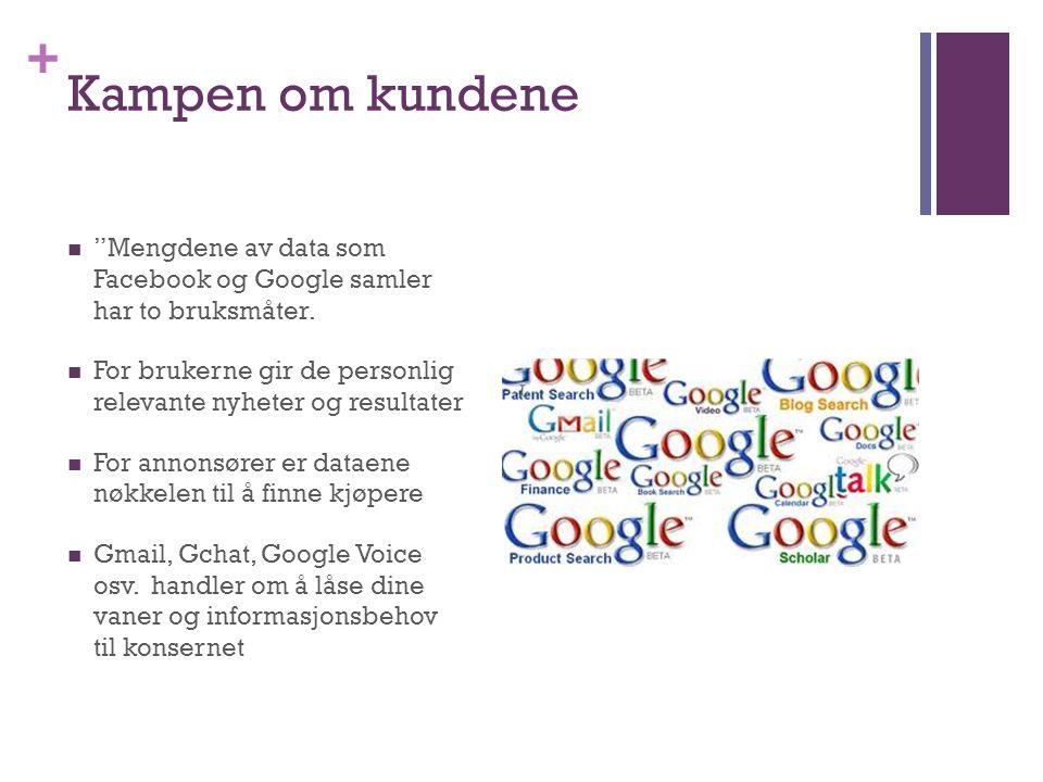 """+ Kampen om kundene  """"Mengdene av data som Facebook og Google samler har to bruksmåter.  For brukerne gir de personlig relevante nyheter og resultat"""