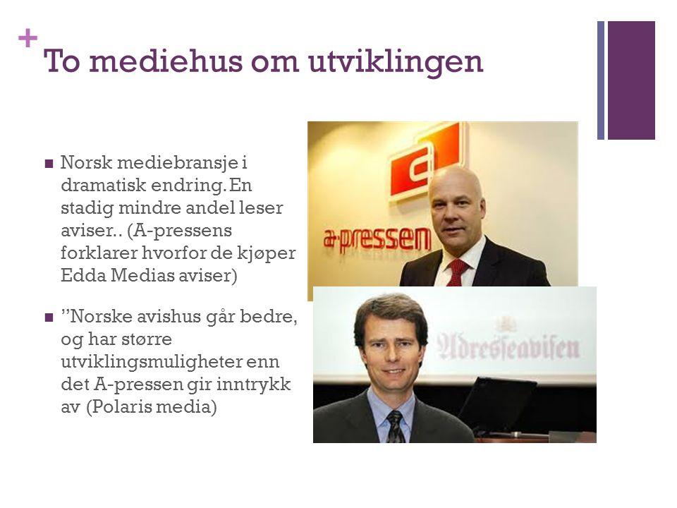 + To mediehus om utviklingen  Norsk mediebransje i dramatisk endring. En stadig mindre andel leser aviser.. (A-pressens forklarer hvorfor de kjøper E