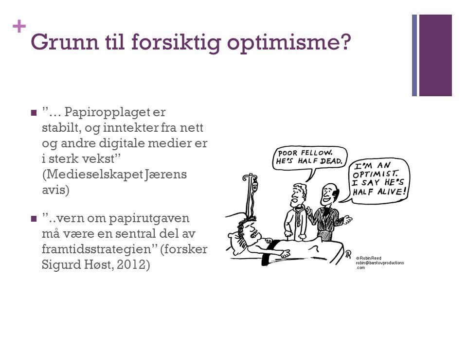 """+ Grunn til forsiktig optimisme?  """"… Papiropplaget er stabilt, og inntekter fra nett og andre digitale medier er i sterk vekst"""" (Medieselskapet Jæren"""