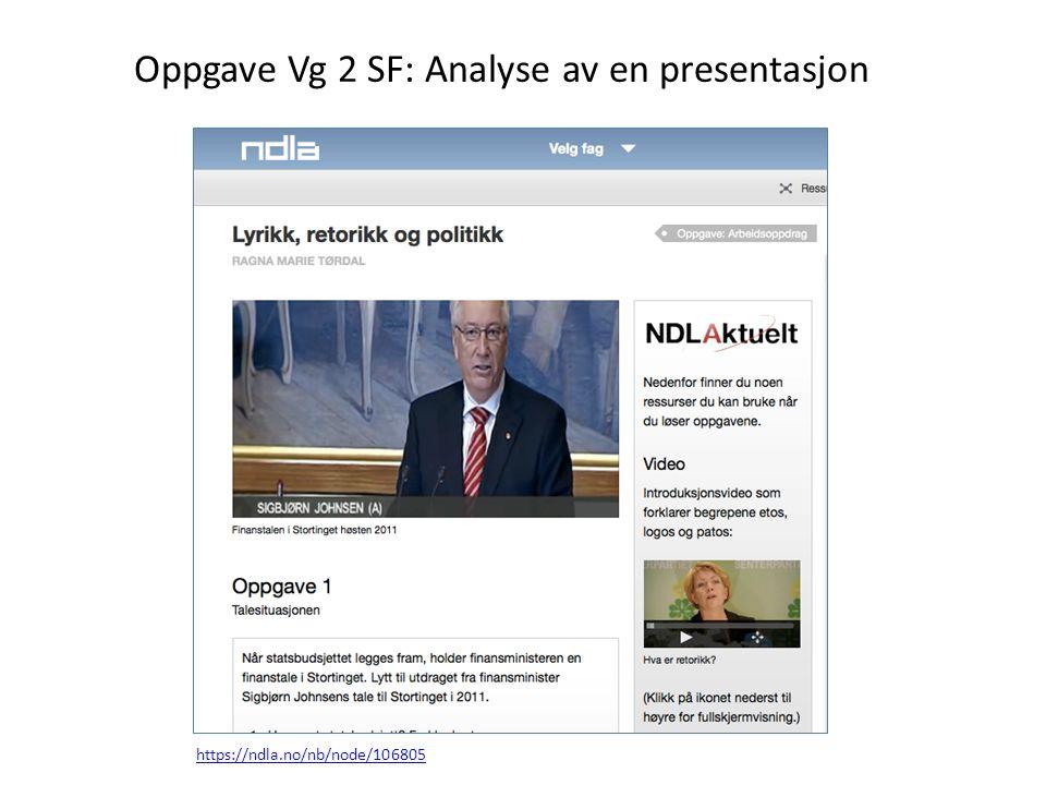 https://ndla.no/nb/node/106805 Oppgave Vg 2 SF: Analyse av en presentasjon