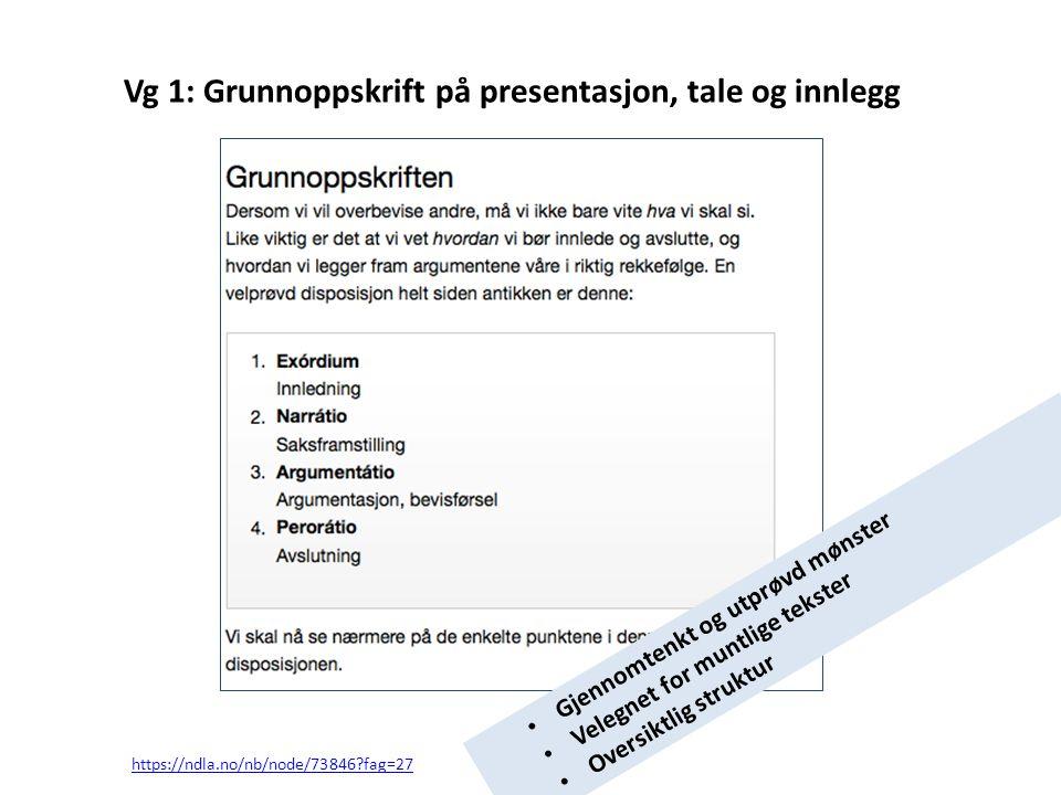 Vg 1: Grunnoppskrift på presentasjon, tale og innlegg https://ndla.no/nb/node/73846?fag=27 • Gjennomtenkt og utprøvd mønster • Velegnet for muntlige t
