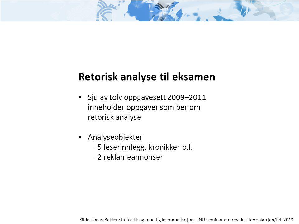 Retorisk analyse til eksamen • Sju av tolv oppgavesett 2009–2011 inneholder oppgaver som ber om retorisk analyse • Analyseobjekter –5 leserinnlegg, kr