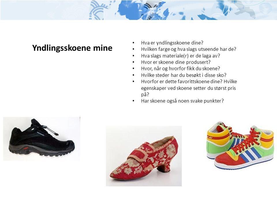 Yndlingsskoene mine • Hva er yndlingsskoene dine? • Hvilken farge og hva slags utseende har de? • Hva slags materiale(r) er de laga av? • Hvor er skoe