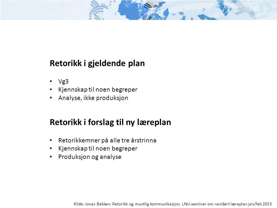 Retorikk i gjeldende plan • Vg3 • Kjennskap til noen begreper • Analyse, ikke produksjon Retorikk i forslag til ny læreplan • Retorikkemner på alle tr