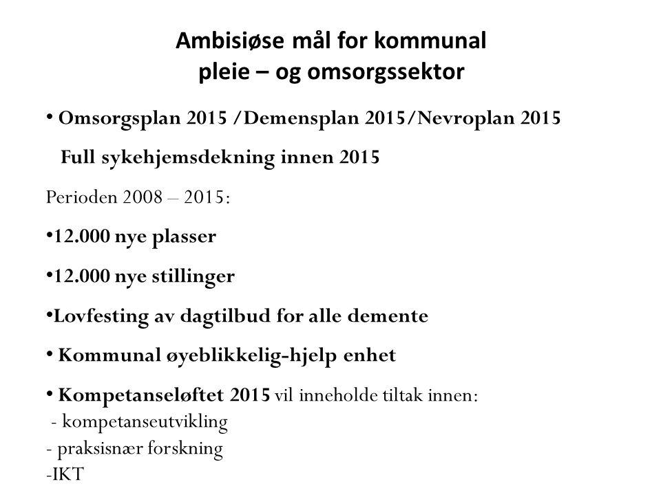Ambisiøse mål for kommunal pleie – og omsorgssektor • Omsorgsplan 2015 /Demensplan 2015/Nevroplan 2015 Full sykehjemsdekning innen 2015 Perioden 2008