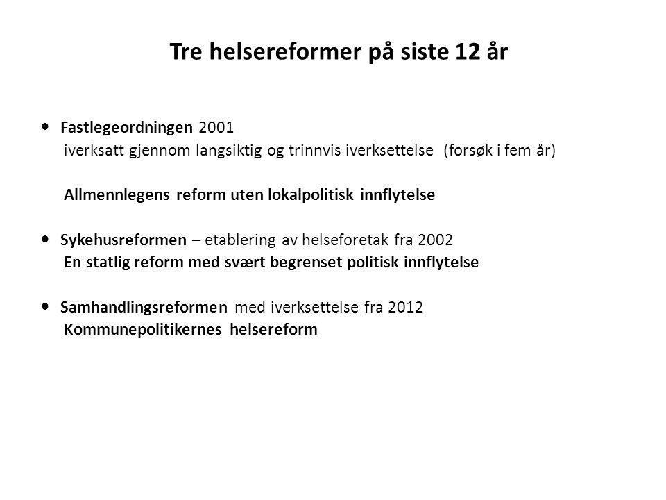 Tre helsereformer på siste 12 år  Fastlegeordningen 2001 iverksatt gjennom langsiktig og trinnvis iverksettelse (forsøk i fem år) Allmennlegens refor