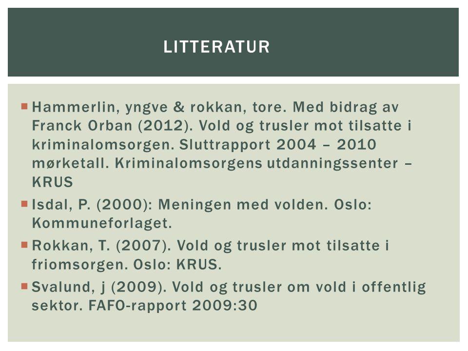  Hammerlin, yngve & rokkan, tore.Med bidrag av Franck Orban (2012).