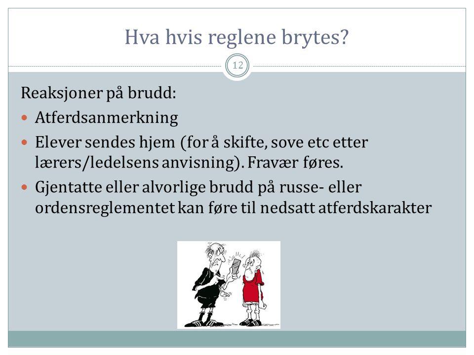 Hva hvis reglene brytes? 12 Reaksjoner på brudd:  Atferdsanmerkning  Elever sendes hjem (for å skifte, sove etc etter lærers/ledelsens anvisning). F