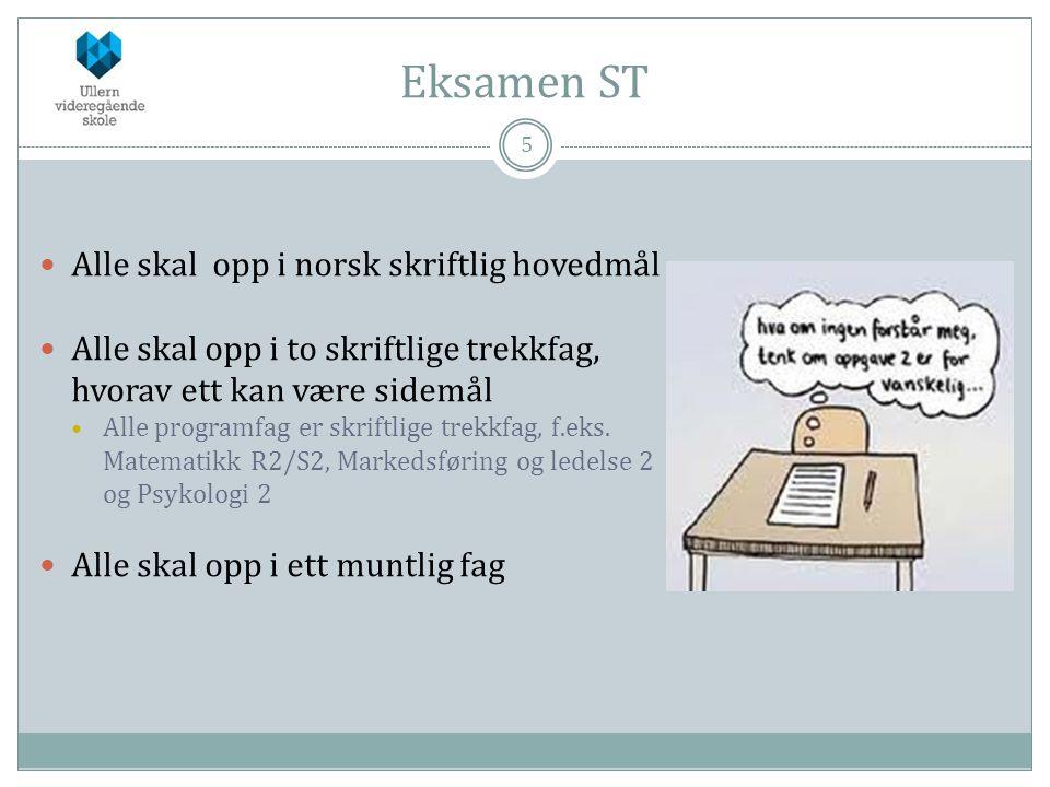 Eksamen ST 5  Alle skal opp i norsk skriftlig hovedmål  Alle skal opp i to skriftlige trekkfag, hvorav ett kan være sidemål  Alle programfag er skr