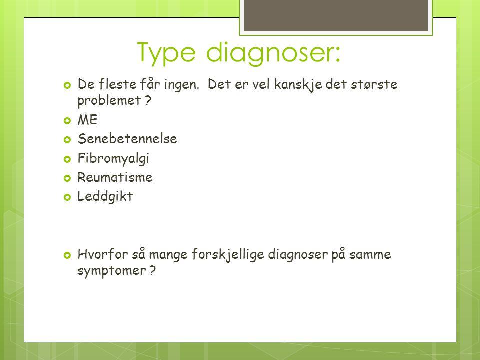 Type diagnoser:  De fleste får ingen. Det er vel kanskje det største problemet ?  ME  Senebetennelse  Fibromyalgi  Reumatisme  Leddgikt  Hvorfo