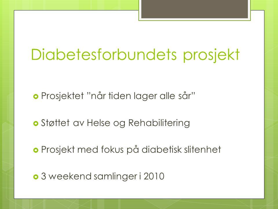 Diabetesforbundets prosjekt  Prosjektet når tiden lager alle sår  Støttet av Helse og Rehabilitering  Prosjekt med fokus på diabetisk slitenhet  3 weekend samlinger i 2010
