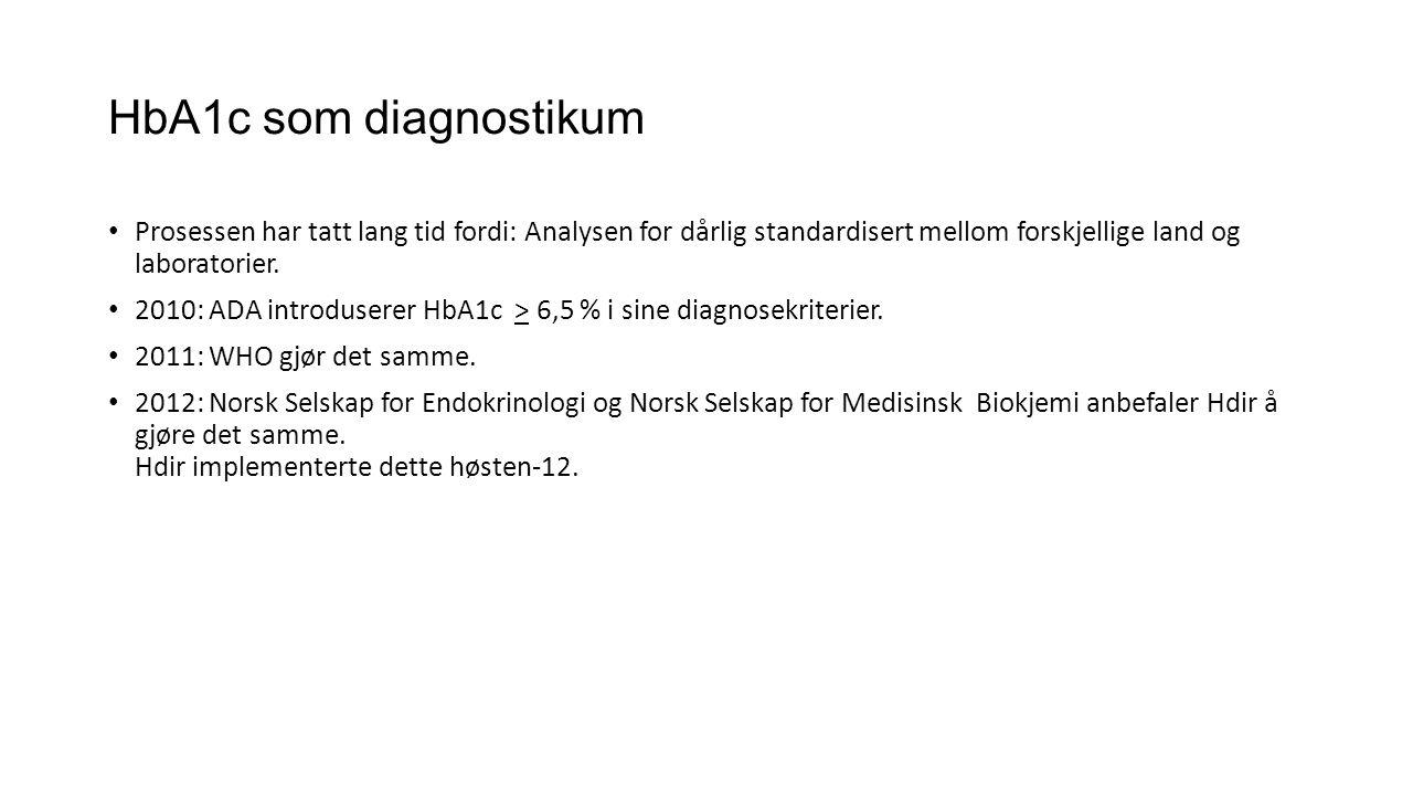 HbA1c som diagnostikum • Prosessen har tatt lang tid fordi: Analysen for dårlig standardisert mellom forskjellige land og laboratorier. • 2010: ADA in