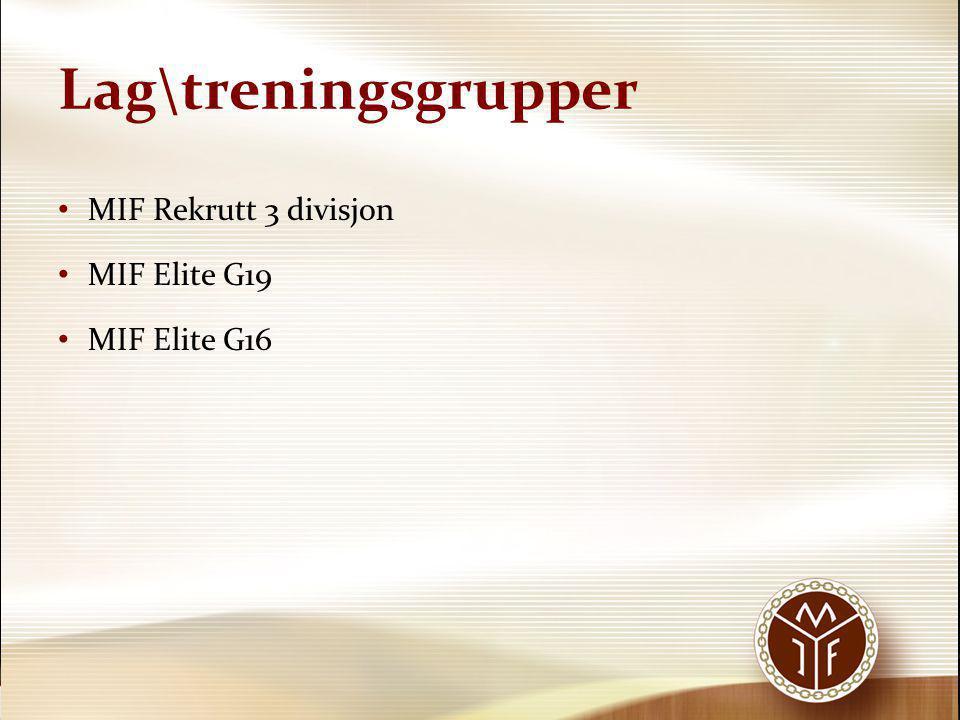 Lag\treningsgrupper • MIF Rekrutt 3 divisjon • MIF Elite G19 • MIF Elite G16