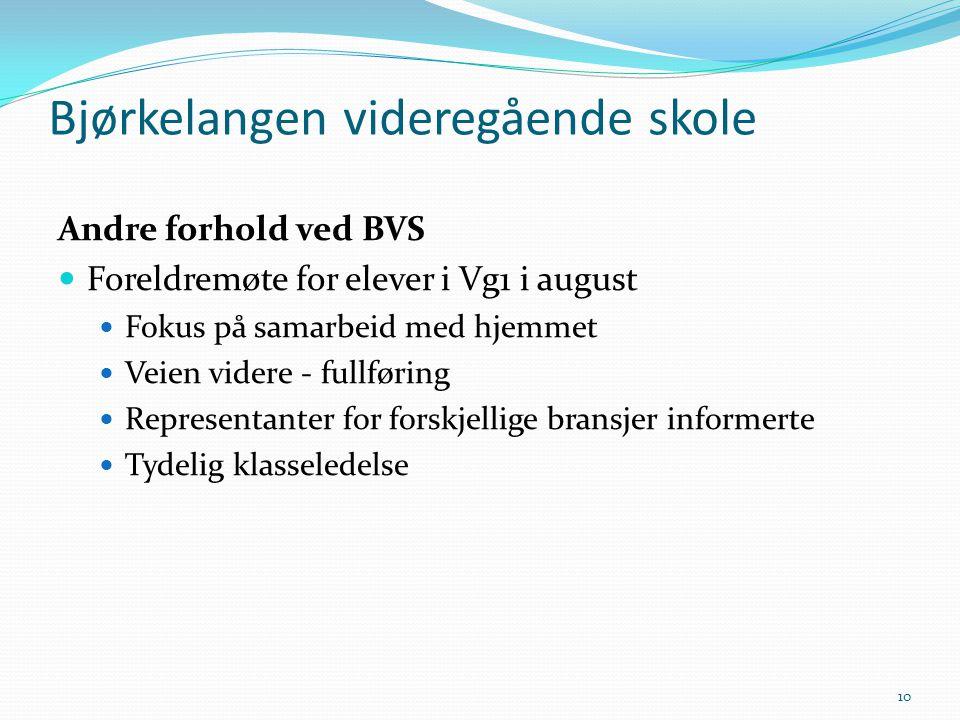 Andre forhold ved BVS  Foreldremøte for elever i Vg1 i august  Fokus på samarbeid med hjemmet  Veien videre - fullføring  Representanter for forsk