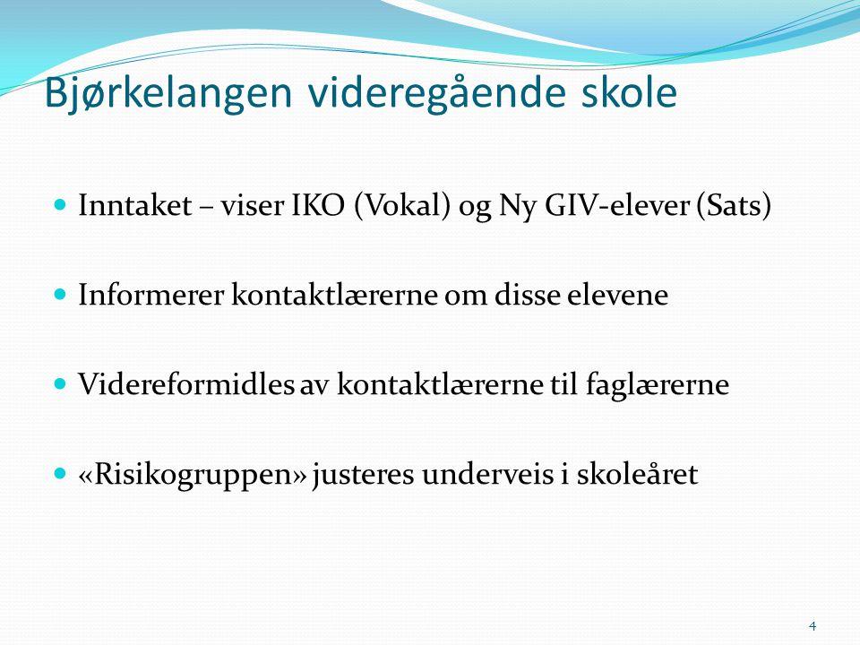  Inntaket – viser IKO (Vokal) og Ny GIV-elever (Sats)  Informerer kontaktlærerne om disse elevene  Videreformidles av kontaktlærerne til faglærerne