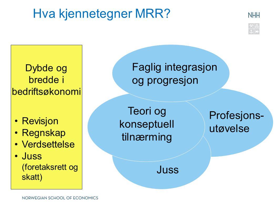 Hva kjennetegner MRR? Dybde og bredde i bedriftsøkonomi •Revisjon •Regnskap •Verdsettelse •Juss (foretaksrett og skatt) Teori og konseptuell tilnærmin